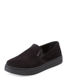 Prada Linea Rossa Suede Skate Shoe, Nero