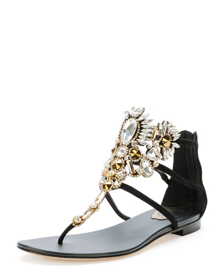 Chandelier Crystal Thong Sandal, Black