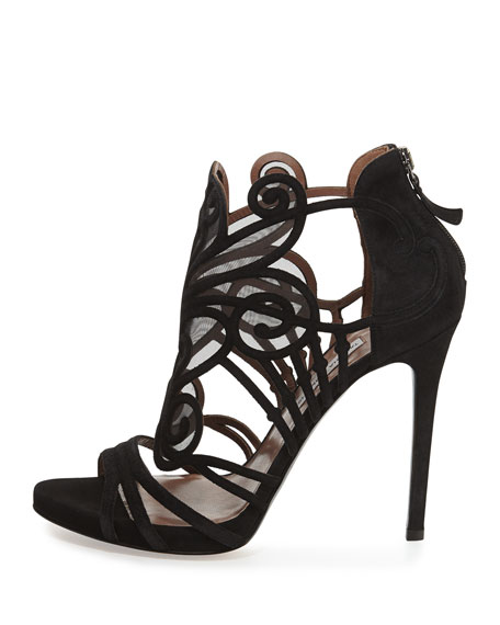 Suede & Mesh Filigree Sandal, Black