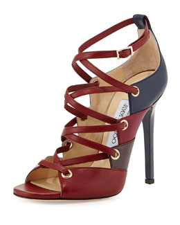 Jimmy Choo Linger Napa Lace-Up Sandal, Jasper Mix