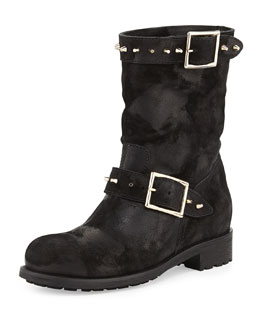 Jimmy Choo Dash Studded Suede Biker Boot, Black