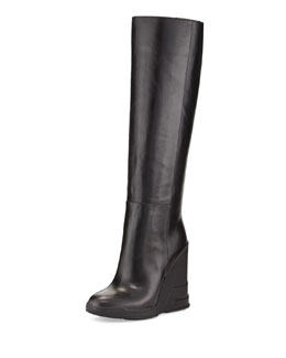 Prada Rubber-Wedge Knee Boot