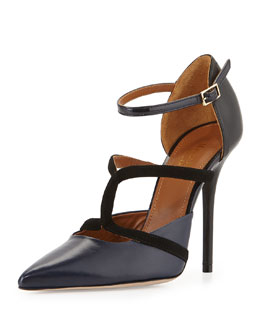 Malone Souliers Veronica Napa Ankle-Strap Pump, Midnight/Black