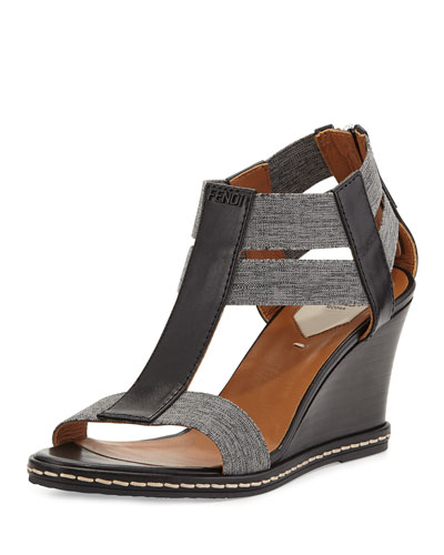 Leather Banded-Strap Wedge Sandal, Nero