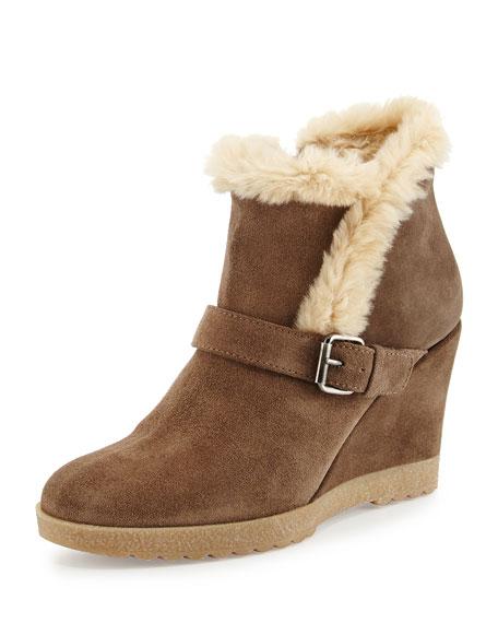 ba5e7a258 Aquatalia Carlotta Faux-Fur Lined Suede Wedge Ankle Boot