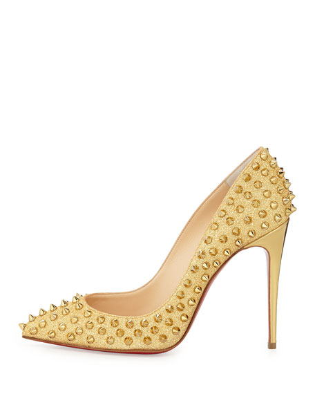 more photos 89323 a4bde Follies Spike-Studded Glitter Red Sole Pump Gold