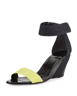 Neon Denim & Leather Wedge Sandal, Multi/Denim