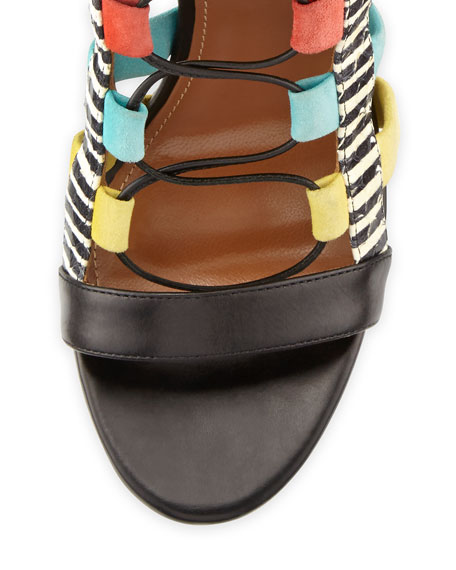 Amazon Lace-Up Cage Sandal, Multicolor