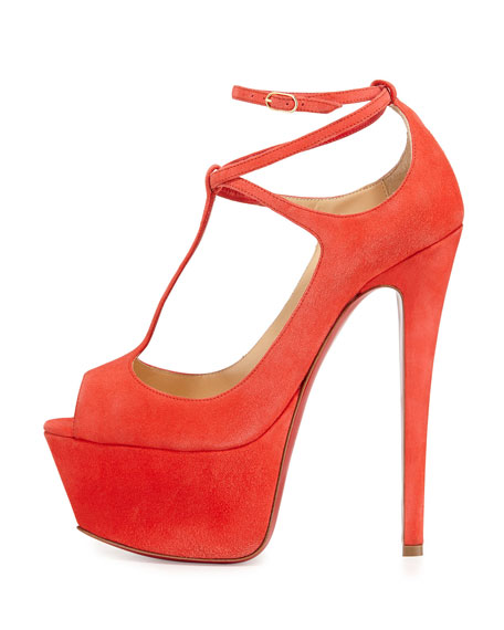 Christian Louboutin Talitha Suede Red Sole Platform Pump, Poppy