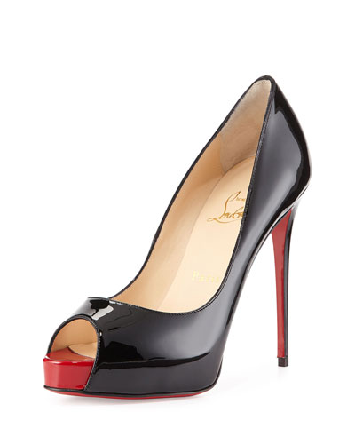 a4a44355a088 christian louboutin patent leather peep-toe Very Prive pumps Black covered  heels
