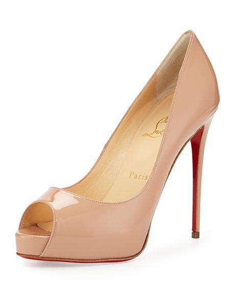 christian louboutin very prive beige peep toe pumps