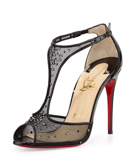 Patinana Strass Red Sole Sandal, Hematite