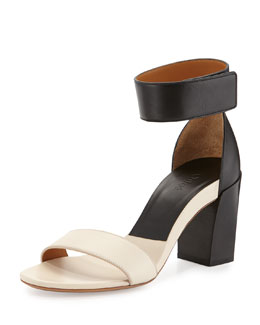 Chloe Two-Tone Block-Heel Sandal, Black/White