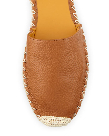 Rockstud Ankle-Wrap Espadrille Flat, Cuir/Orange