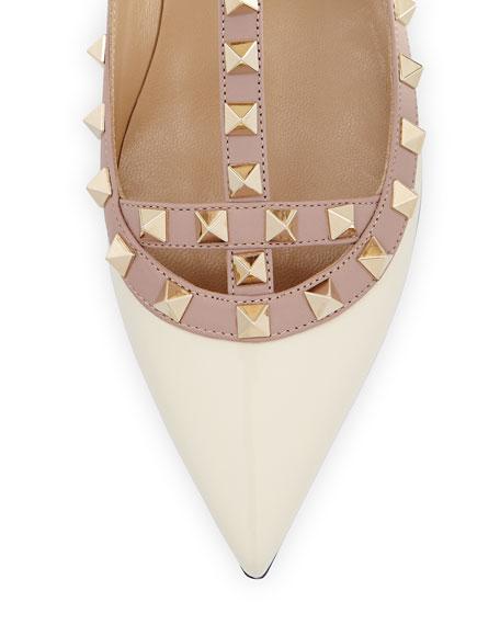 Rockstud Patent Cage Ballerina Flat, Light Ivory