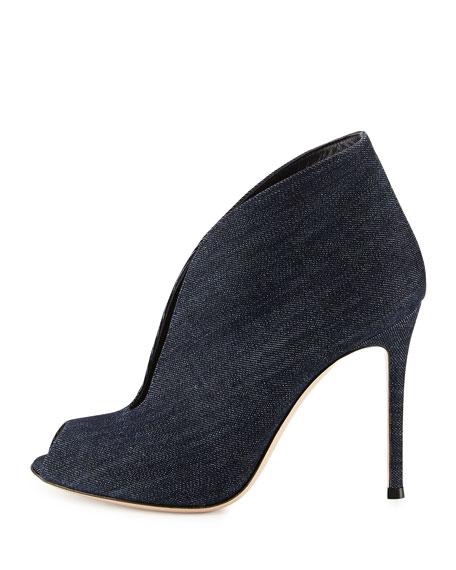 Denim V-Neck Peep-Toe Bootie