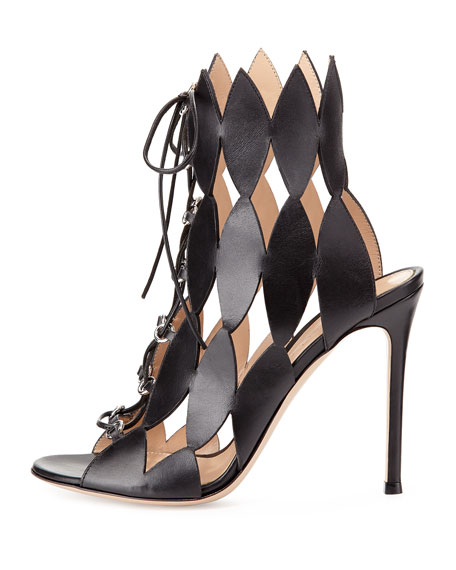 Diamond Cutout Lace-Up Sandal, Nero