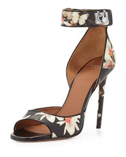 Floral-Print Leather Ankle-Wrap Sandal