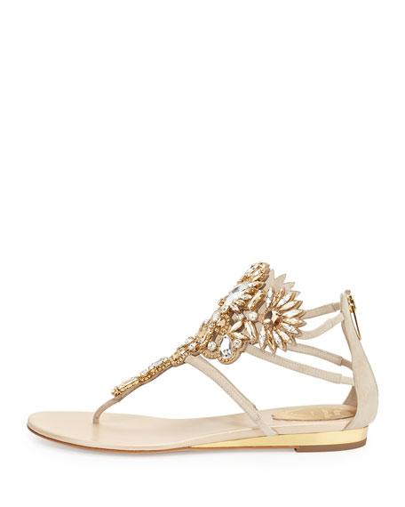 Chandelier Swarovski Crystal Thong Sandal, Sand/Smoke
