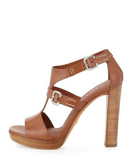 Leather T-Strap Sandal, Brandy