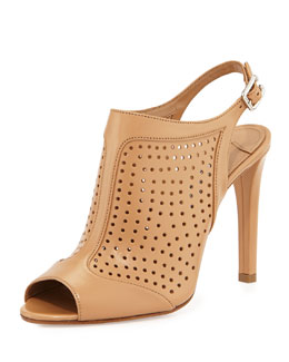 Perforated Leather Slingback Pump, Naturale