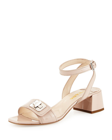 Prada Patent Leather Turnlock Sandal