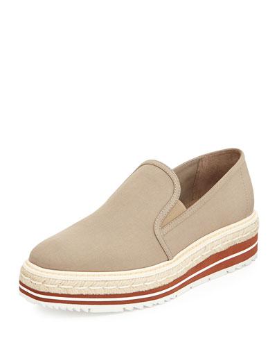 Linen Espadrille Slip-On Loafer, Khaki