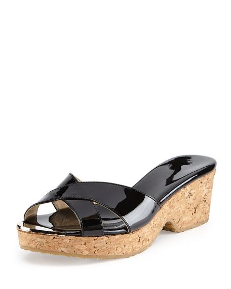 Jimmy Choo Panna Patent Slide Sandal, Black