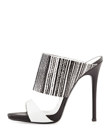 Snake-Print High-Heel Slide Sandal, Black/White