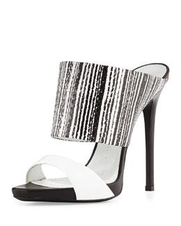 Snake-Print High-Heel Slide Sandal, Black/White