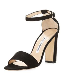Lauratop Suede Chunky-Heel Sandal, Black