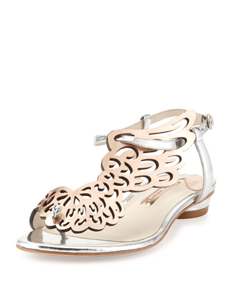 Sophia Webster Seraphina Angel-Wing Sandal, Rose Gold/Silver