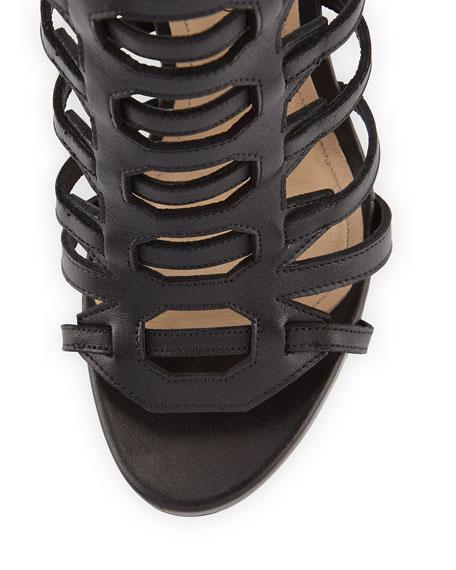 Athena Caged Knee-High Sandal, Black