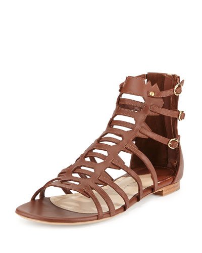 Agia Leather Gladiator Sandal, Tobacco