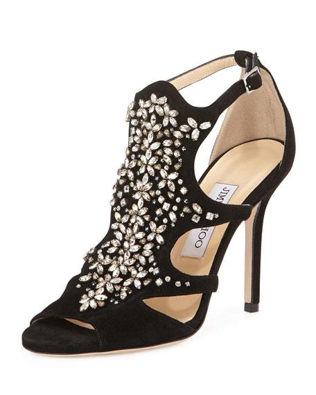 Tinga Suede Crystal-Embellished Sandal, Black