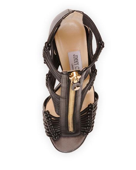 Katie Strappy Zip-Front Sandal, Black