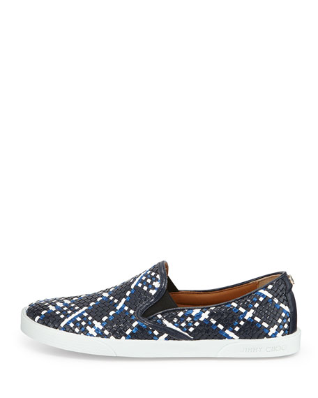 Demi Woven Leather Slip-On Sneaker, Navy Mix