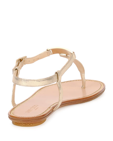 Wave Metallic Leather Thong Sandal, Champagne
