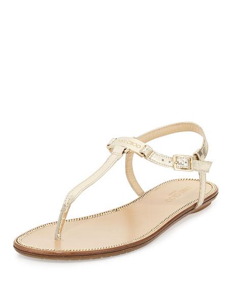 Wave Metallic Leather Thong Sandal, Champagne