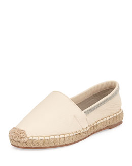 Leather Flat Espadrille