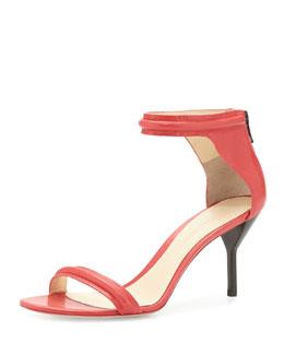 Martini Mid-Heel Sandal, Raspberry