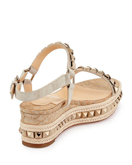 59dae4dc833 Cataclou Python-Embossed Studded Platform Red Sole Espadrille