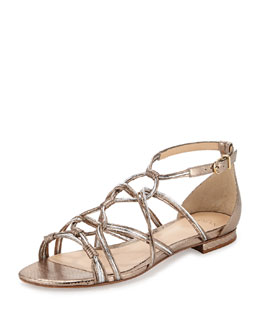 Metallic Watersnake Flat Sandal, Bronze/Silver