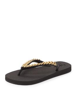 Chain-Strap Rubber Thong Sandal, Black/Gold