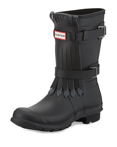 Original Tall Fringe-Front Welly Boot, Black/Dark Slate