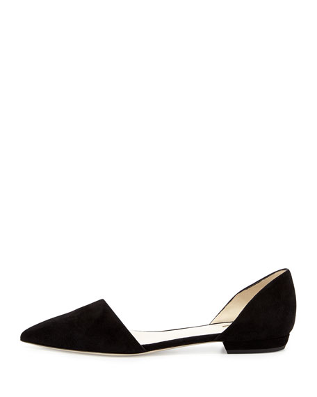 Suede d'Orsay Slip-On Flat, Nero
