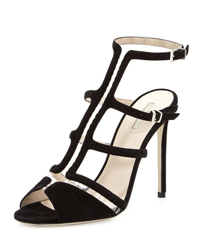 Suede Gladiator Illusion Sandal, Nero