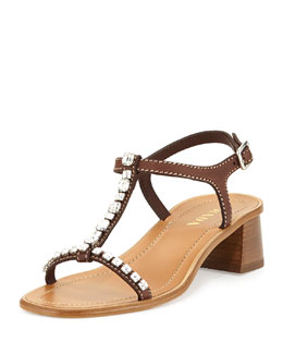 Crystal-Embellished T-Strap Sandal, Teak