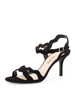 Suede Wavy Strap Sandal, Nero