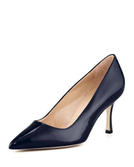 BB Shimmer Patent 70mm Pump, Navy (Made to Order)